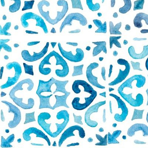Painted Watercolor Moroccan Tile  – Blue, Large