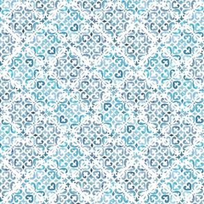 Painted Watercolor Moroccan Tile on edge  – Blue, Small