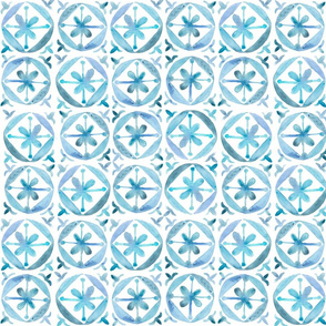 Watercolor Moroccan Flower Tile – Blue, Small