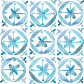 Watercolor Moroccan Flower Tile  – Blue, Large