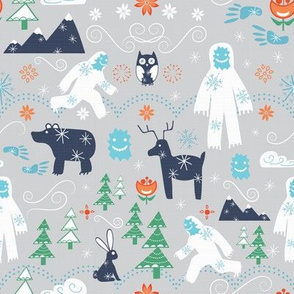 Yeti with winter forest friends
