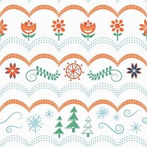Winter folk art sampler