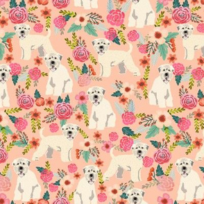 irish wheaten dog floral fabric - irish wheaten terrier fabric, soft coated wheaten terrier, dog florals, floral fabric, dog design - peach
