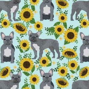 french bulldog sunflower fabric - frenchie fabric, grey french bulldog, grey frenchie fabric, sunflower fabric, cute dog fabric -  seafoam