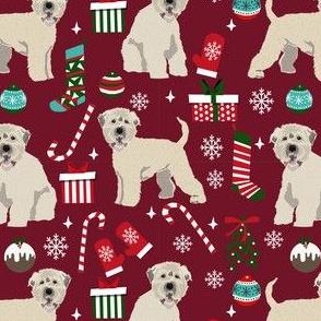 irish wheaten christmas dog fabric - dog fabric, christmas dog fabric, wheaten terrier dog fabric, cute dog -  burgundy