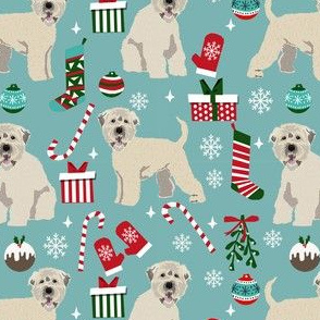 irish wheaten christmas dog fabric - dog fabric, christmas dog fabric, wheaten terrier dog fabric, cute dog -  blue