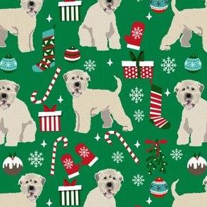 irish wheaten christmas dog fabric - dog fabric, christmas dog fabric, wheaten terrier dog fabric, cute dog - green