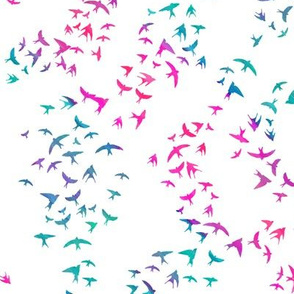 Swallows - pink, aqua, blue