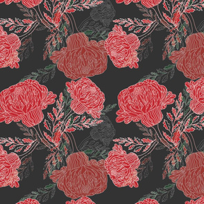 Beautiful floral red and gray-01