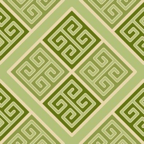 Greek Key Boxes in Muted Greens