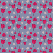 Bright Tulips on purple background Pattern