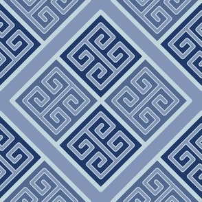 Greek Key Boxes in Muted Blues