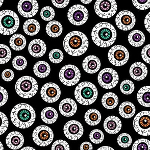 eyeballs fabric - spooky halloween fabric, halloween fabric, eyeballs halloween fabric, creepy fabric, - black multi