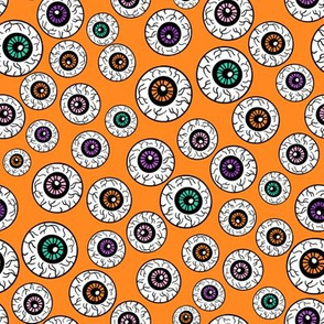 eyeballs fabric - spooky halloween fabric, halloween fabric, eyeballs halloween fabric, creepy fabric, - orange multi