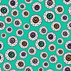 eyeballs fabric - spooky halloween fabric, halloween fabric, eyeballs halloween fabric, creepy fabric, - green