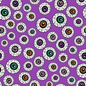 eyeballs fabric - spooky halloween fabric, halloween fabric, eyeballs halloween fabric, creepy fabric, - purple