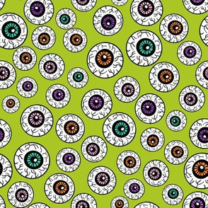 eyeballs fabric - spooky halloween fabric, halloween fabric, eyeballs halloween fabric, creepy fabric, - lime