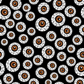eyeballs fabric - spooky halloween fabric, halloween fabric, eyeballs halloween fabric, creepy fabric, - black and orange