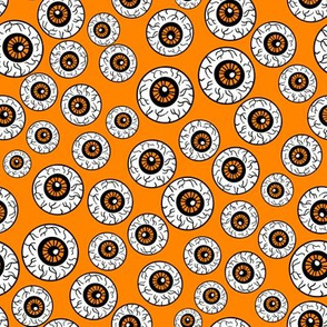 eyeballs fabric - spooky halloween fabric, halloween fabric, eyeballs halloween fabric, creepy fabric, - orange