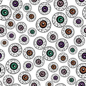 eyeballs fabric - spooky halloween fabric, halloween fabric, eyeballs halloween fabric, creepy fabric, - white