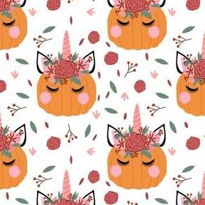 Unicorn pumpkin - cute fall fabric, unicorn fabric, unicorn pumpkin, autumn leaves fabric - white