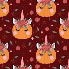 Unicorn pumpkin - cute fall fabric, unicorn fabric, unicorn pumpkin, autumn leaves fabric - burgundy