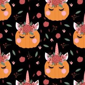 Unicorn pumpkin - cute fall fabric, unicorn fabric, unicorn pumpkin, autumn leaves fabric - black
