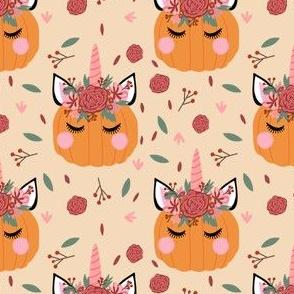 Unicorn pumpkin - cute fall fabric, unicorn fabric, unicorn pumpkin, autumn leaves fabric - cream
