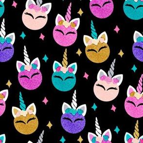 unicorn ornaments christmas - christmas fabric, unicorn fabric, christmas fabric - black, teal, pink, gold