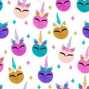 unicorn ornaments christmas - christmas fabric, unicorn fabric, christmas fabric - teal, pink, gold