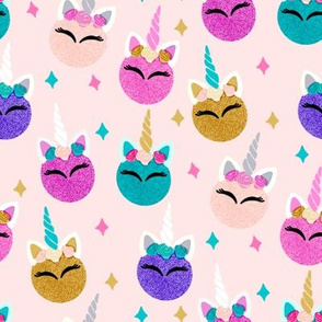 unicorn ornaments christmas - christmas fabric, unicorn fabric, christmas fabric - peach