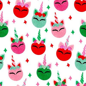 unicorn ornaments christmas - christmas fabric, unicorn fabric, christmas fabric - white mint