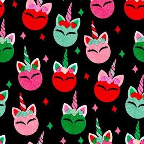 unicorn ornaments christmas - christmas fabric, unicorn fabric, christmas fabric - black
