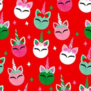 unicorn ornaments christmas - christmas fabric, unicorn fabric, christmas fabric -  red