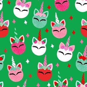 unicorn ornaments christmas - christmas fabric, unicorn fabric, christmas fabric - green