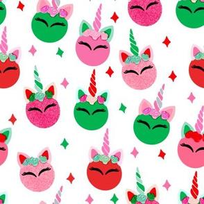 unicorn ornaments christmas - christmas fabric, unicorn fabric, christmas fabric - white