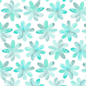 Painted Watercolor Flower – Teal Aqua Mint, Large