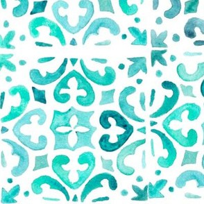 Painted Watercolor Moroccan Tile – Teal Aqua Mint, Large