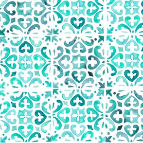 Painted Watercolor Moroccan Tile – Teal Aqua Mint, Small