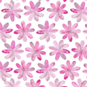 Painted Watercolor Flowers – Magenta Pink, Large