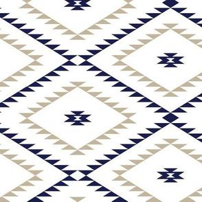 Navajo Pattern - White / Navy / Beige - Medium
