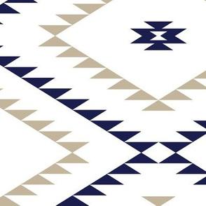 Navajo Pattern - White / Navy / Beige - Large