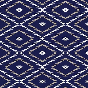 Navajo Pattern - Navy / White / Beige - Small
