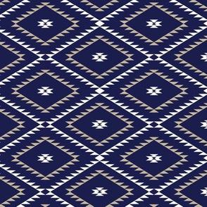 Navajo Pattern - Navy / White / Beige - Small