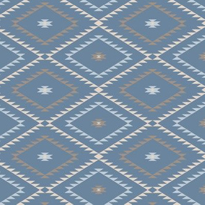 Navajo Pattern - Blue / Brown / Beige - Small