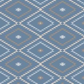 Navajo Pattern - Blue / Brown / Beige - Small