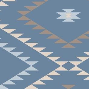 Navajo Pattern - Blue / Brown / Beige - Large