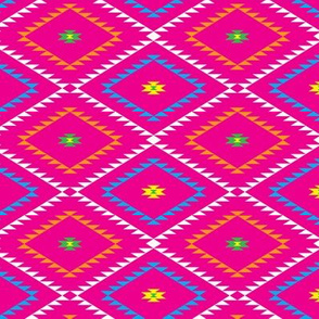 Navajo Pattern - Pink / Yellow / Green - Small