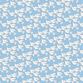 doves soaring tiny blue