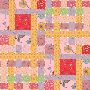 Hand-drawn Floral Patchwork Quilt